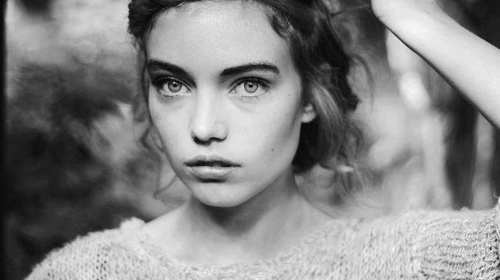 braids, monochrome, sweater, Elsa Fredriksson Holmgren, face, looking at viewer, girl