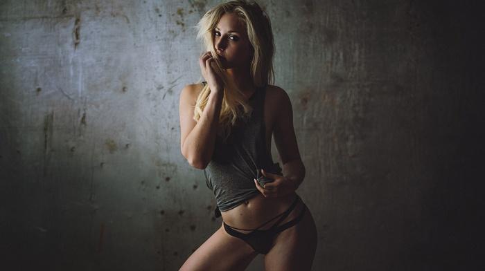 panties, model, long hair, looking at viewer, blonde, tank top, girl, simple background