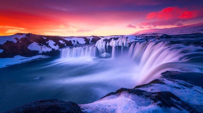 waterfall, nature, Iceland, landscape