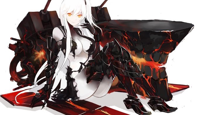 looking at viewer, long hair, big boobs, Aircraft Carrier Oni, Kantai Collection, boots, claws, white background, anime, anime girls