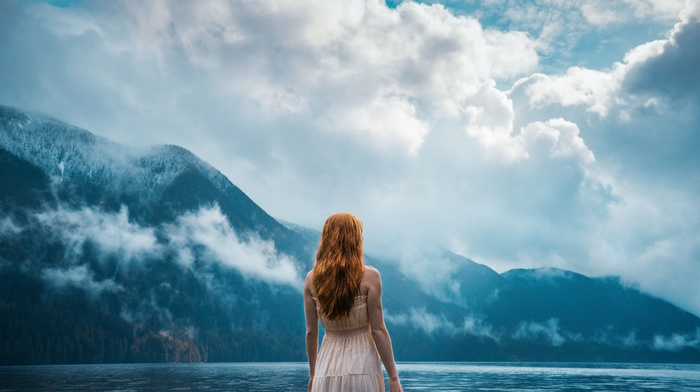 water, mountains, clouds, dress, girl outdoors, lake, nature, redhead