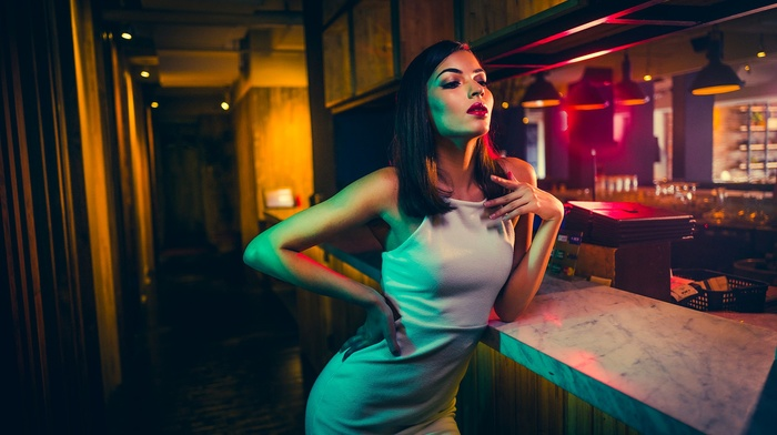 hands on hips, table, girl, brunette, white dress, dress, bare shoulders, lights, bars, long hair, bar, model, red lipstick