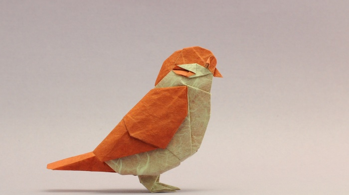 paper, orange, origami, cannary, birds