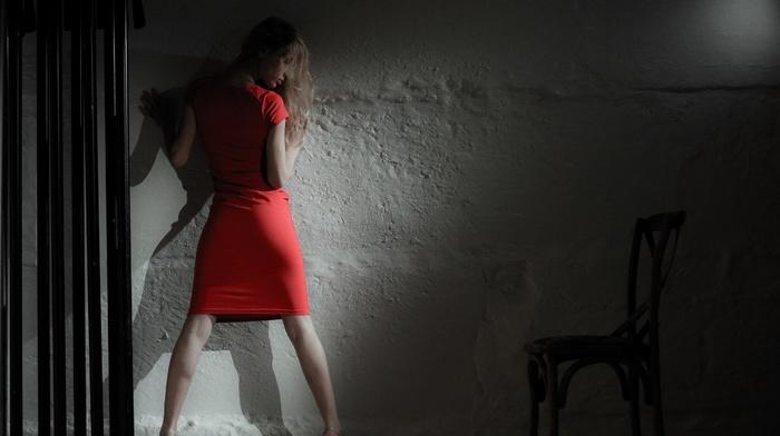 wall, dress, model, girl