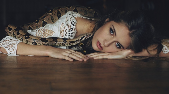 lying on front, Camille Rochette, girl, on the floor, snake, blue eyes, looking at viewer