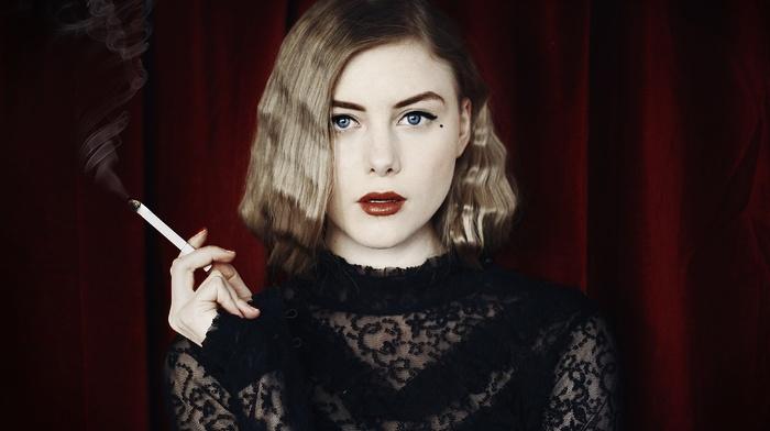 girl, see, through clothing, cigarettes, wavy hair, blue eyes, lipstick, smoking