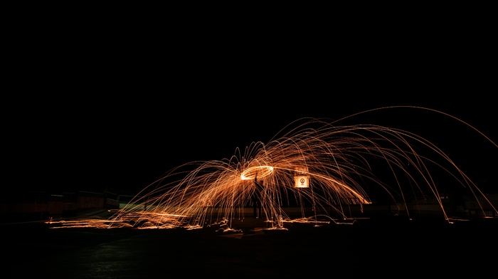 steel wool, long exposure, night