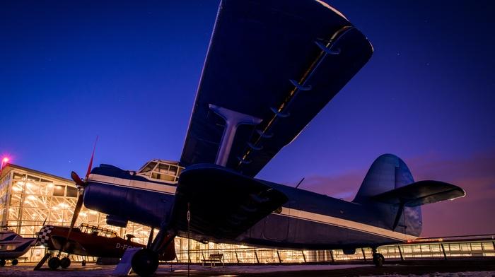airplane, night, antonov, long exposure