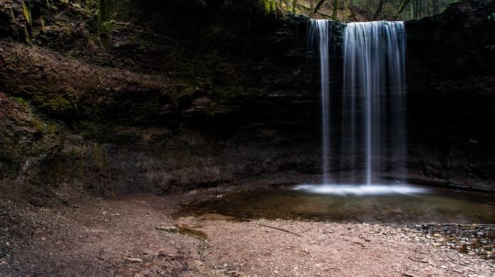 night, long exposure, waterfall, nature