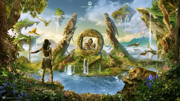 collage, photoshop, parrot, hawks, plants, stone age, lion, fantasy art, digital art, Wendell Souza, Desktopography, stone tools, prehistoric period, floating island