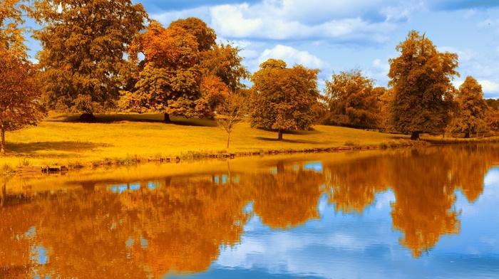 river, pond, lake, water, park, reflection, seasons, landscape, trees, orange, colorful, fall, blue, foliage, nature