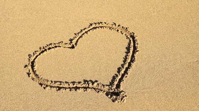love, sand, shore, coast, romantic, romance, symbols, sea, shapes, beach, heart