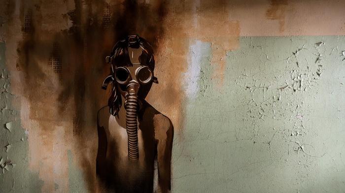wall, artwork, gas masks