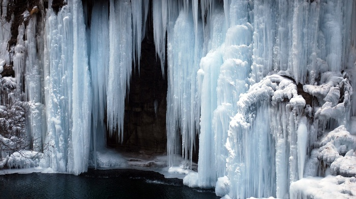 frozen lake, cold, frozen river, waterfall, lake, ice, river, nature