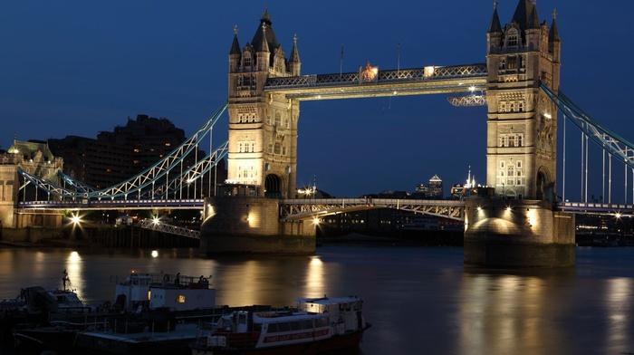 England, River Thames, dark, Tower Bridge, night, city, bridge, architecture, dusk, building, London, lights, sky, river, water