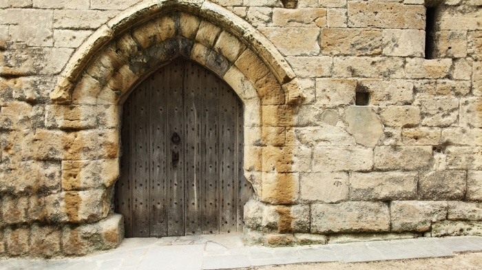 history, castle, building, wood, architecture, vintage, door, wall, stones, arch, medieval, old