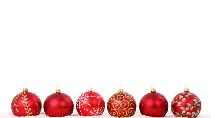 red, decorations, holiday, snow, sphere, white, balls, winter, Christmas ornaments, glass