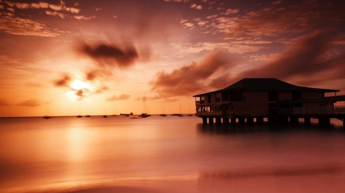 peaceful, red, sand, evening, boat, beach, calm, coast, Sun, orange, harbor, sea, colorful, sky, Barbados, sunset, clouds, dusk