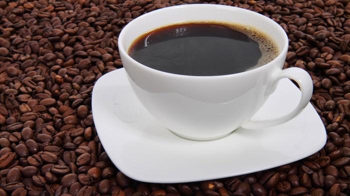 cup, liquid, dark, espresso, brown, coffee beans, hot drink, black, drink, beverages, coffee, plates