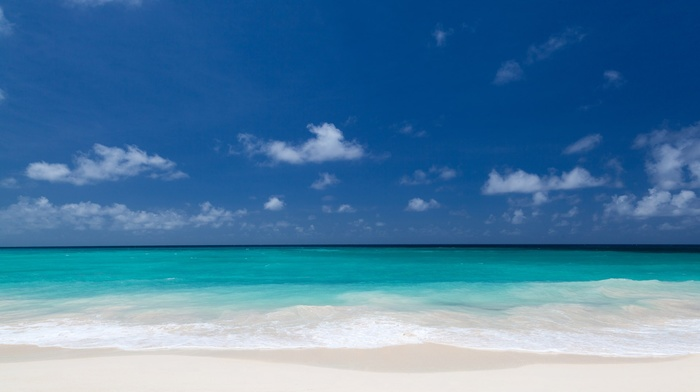 blue, landscape, sky, coastline, space, clouds, nature, coast, water, sand, beach, turquoise, sea