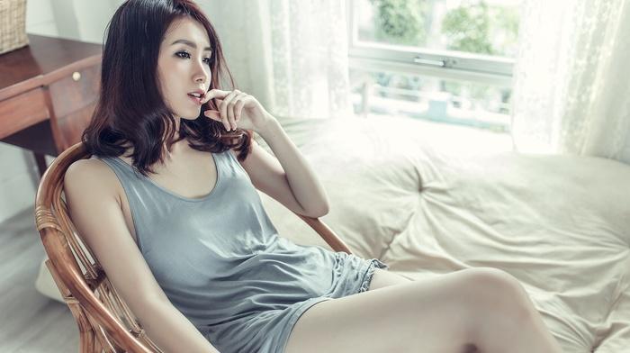 girl, model, chair, sitting, Asian