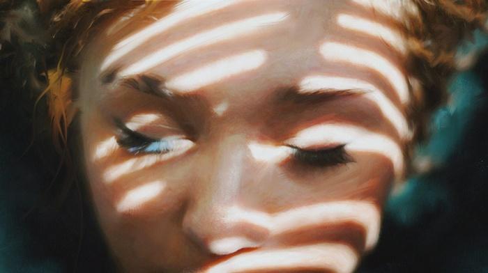 eyelashes, closeup, girl, closed eyes, artwork, face, Mark Chang, painting