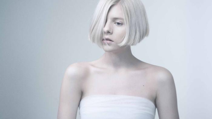 looking away, norwegian, girl, white hair, Aurora Aksnes, musician, short hair, white dress, blue eyes, strapless dress