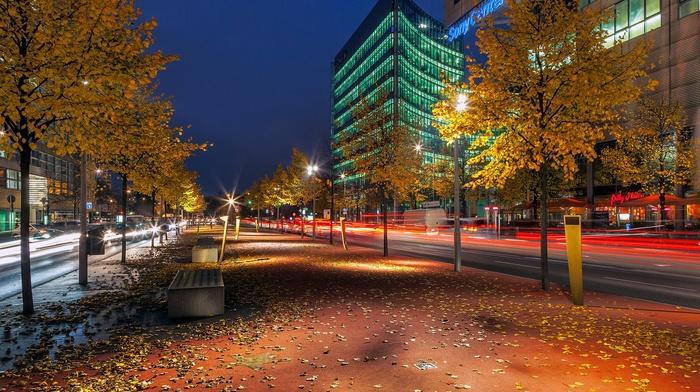 long exposure, street light, fall, Berlin, city