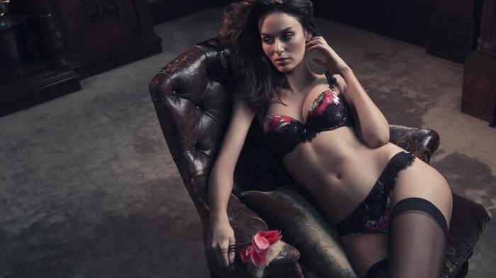 girl, chair, model, lingerie, Nicole Trunfio
