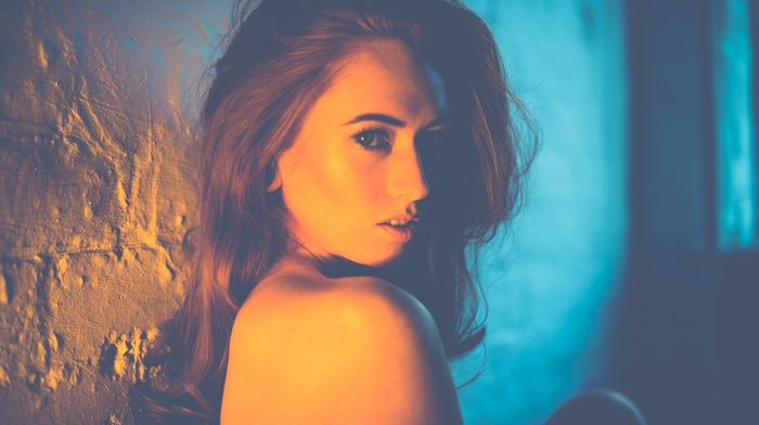 long hair, girl, model, filter, wall, bare shoulders, Jenny OSullivan, redhead, open mouth, looking at viewer