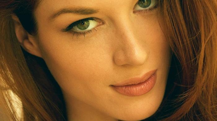 model, looking at viewer, redhead, green eyes, portrait display, Stoya, long hair, girl, face, portrait, pornstar