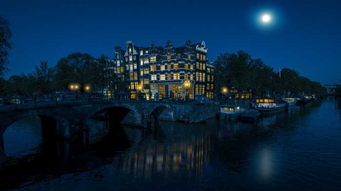 lights, city, bridge, moon, night, moonlight, bar, architecture, cityscape, water, bicycle, reflection, river, Amsterdam, boat, trees, Netherlands, building