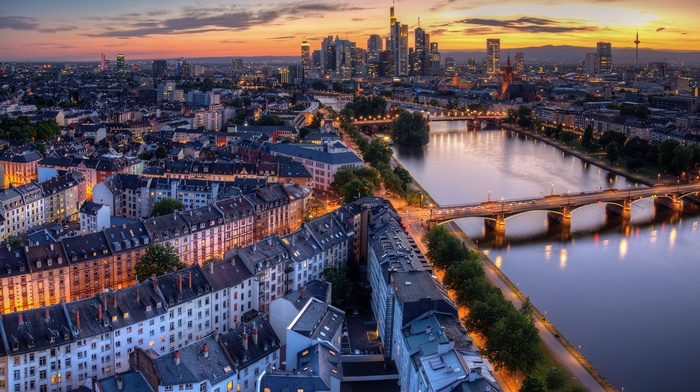 city, lights, rooftops, sunset, architecture, building, skyscraper, hills, clouds, Frankfurt, cityscape, evening, Germany, birds eye view, street, water, house, reflection, trees, bridge, river