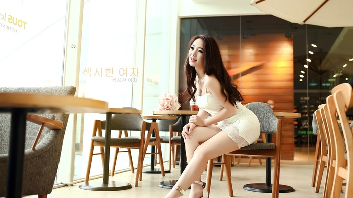 model, heels, legs, long hair, girl, Korean, brunette, dress, sitting, girl indoors, Asian