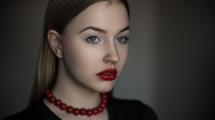 red lipstick, blue eyes, blonde, portrait, pierced nose, girl, clown, depth of field, face