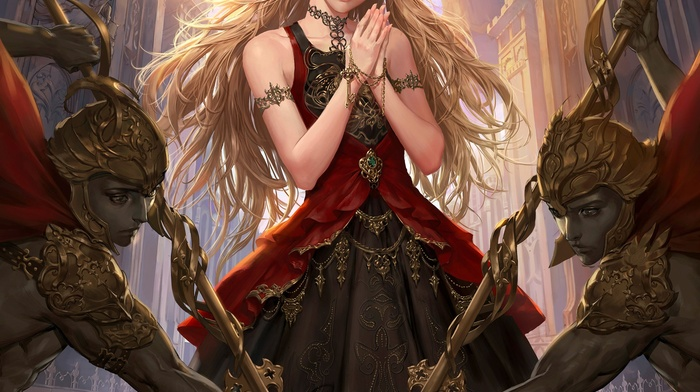 anime, armor, long hair, Legend of the Cryptids, weapon, anime girls, dress