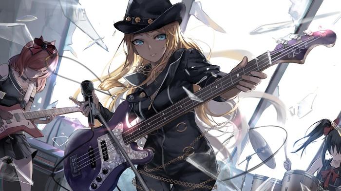 guitar, anime, Nishikino Maki, anime girls, bodysuit, Yazawa Nico, Love Live, Ayase Eli, long hair