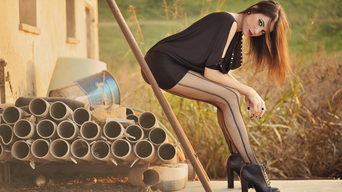 legs, brunette, redhead, model, long hair, looking at viewer, black dress, Giovanni Zacche, painted nails, girl outdoors, heels, makeup, girl, red lipstick, dress, pantyhose, tights, high heels