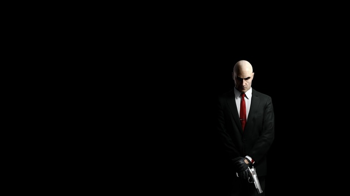 suits, gun, black, men, weapon, video games, simple background, black background, hitman