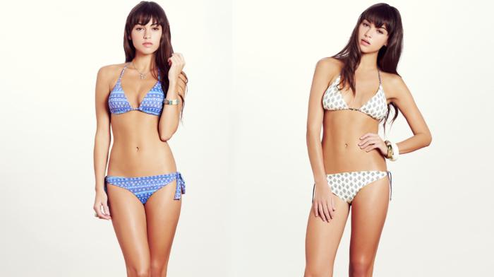 swimwear, girl, bikini, brunette, collage, Beatriz Fernandez, Spanish, looking at viewer, simple background, model