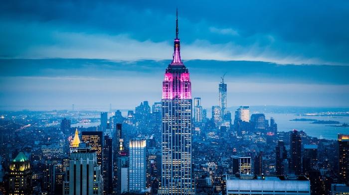 city lights, New York City, sky, city, empire state building