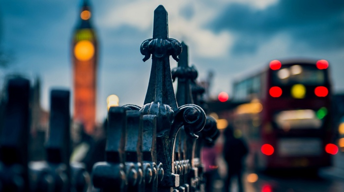 macro, traffic, Westminster, Big Ben, depth of field, London, urban, city, doubledecker