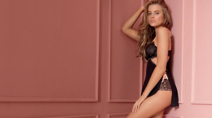 auburn hair, model, nighties, Tanya Mityushina, looking at viewer, hands on head, girl, lingerie, nightwear