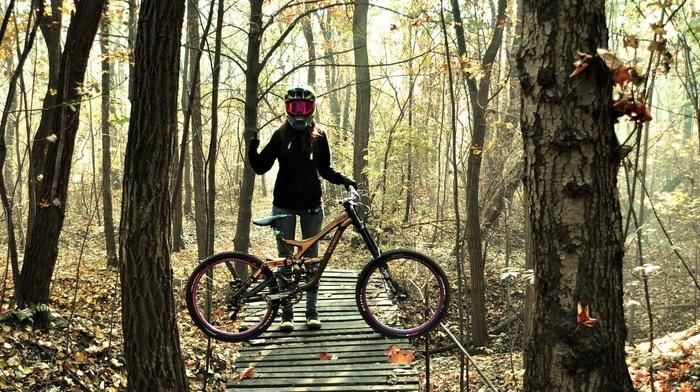 girl with bikes, bicycle, mountain bikes, helmet