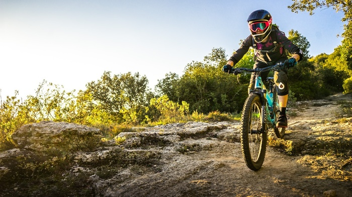 mountain bikes, helmet, girl with bikes, bicycle