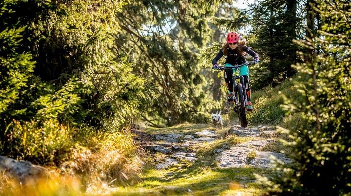 mountain bikes, girl with bikes, bicycle, helmet