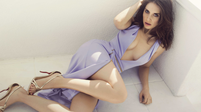 dress, brunette, cleavage, Alison Brie, celebrity, high heels, on the floor, looking at viewer, actress, girl