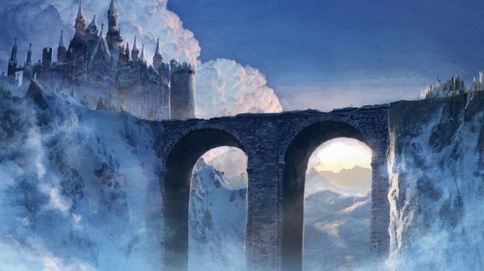 castle, artwork, bridge, fantasy art