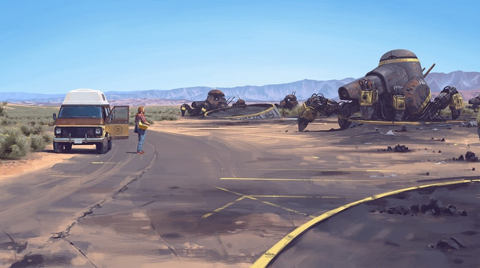artwork, science fiction, robot, vehicle, Simon Stlenhag, car, futuristic