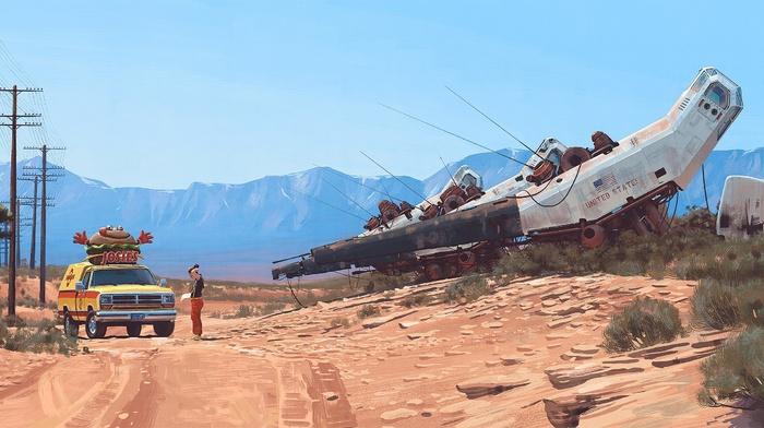 science fiction, artwork, Simon Stlenhag, car